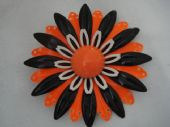 Groovy 1960's Floral Pin in Bright Orange with Black and White (Sold)
